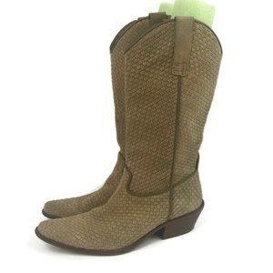 Matisse Basket Weave Woven Leather Cowboy Boots 9